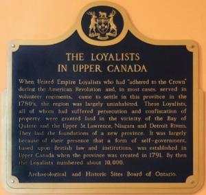 THE LOYALISTS IN UPPER CANADA (Queen's Park Legislative Chambers Memorial Plaque)