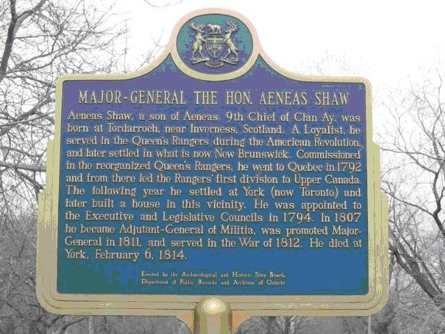 Aeneas Shaw Plaque, Toronto
