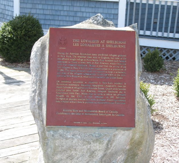 Loyalists at Shelburne NS Plaque