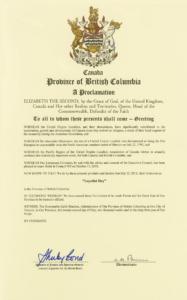 B.C. Loyalist Day proclamation (2012)